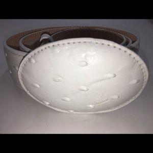 Men's ostrich Print Leather Off-white Belt